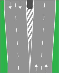 M17 - Raia oblíqua delimitada por uma linha contínua